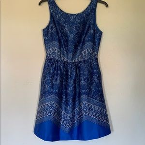 Outback Red- Blue Paisley Midi dress   -0